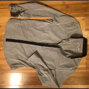 Express fitted dress shirt gray w/ black M